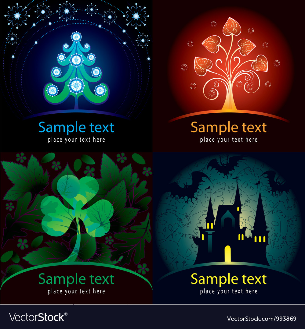 Set of decorative cards vector | Price: 3 Credit (USD $3)
