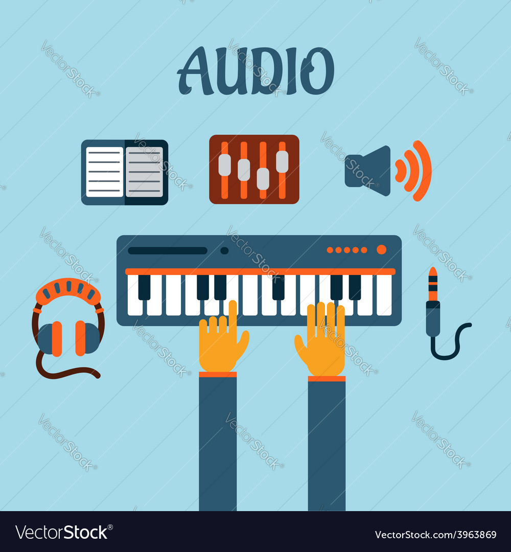 Sound recording flat concept vector | Price: 1 Credit (USD $1)