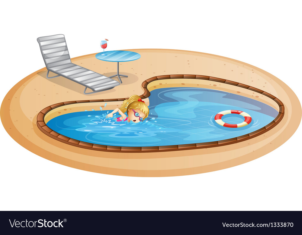 A girl enjoying the pool vector | Price: 1 Credit (USD $1)