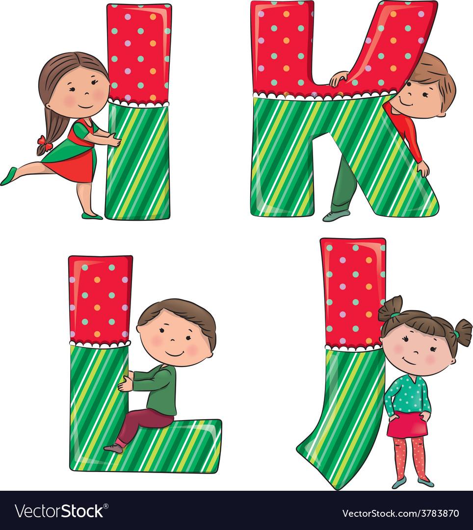 Alphabet kids ijkl vector | Price: 1 Credit (USD $1)