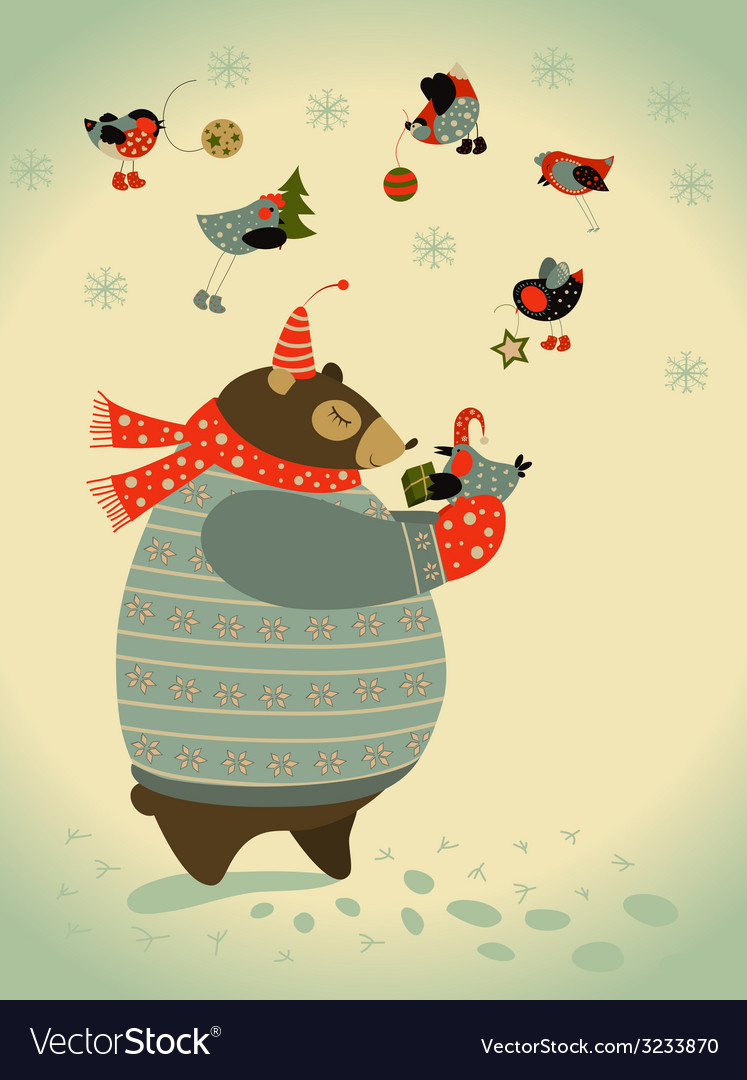 Bear and birds celebrate christmas vector | Price: 1 Credit (USD $1)
