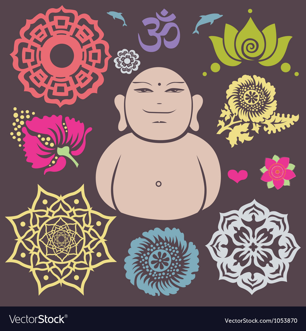 Buddha floral collection vector | Price: 1 Credit (USD $1)