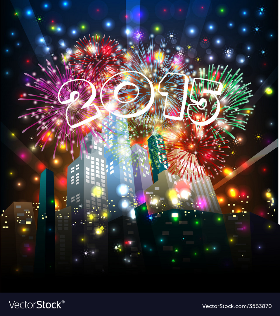 Happy new year with firework vector | Price: 1 Credit (USD $1)