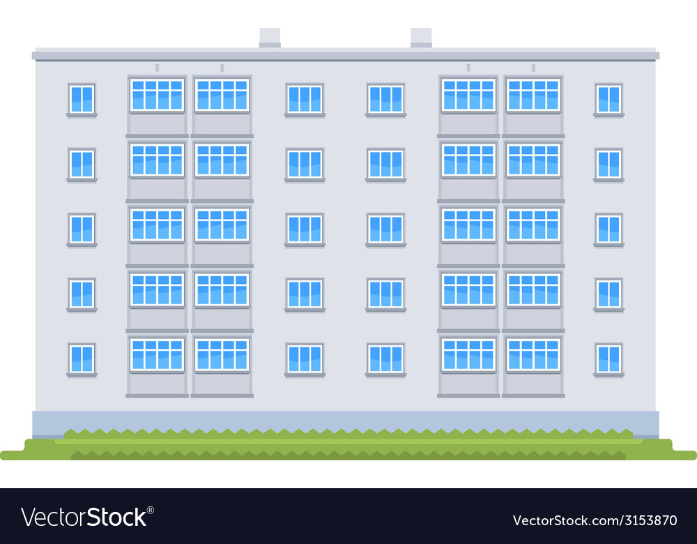 One five story building vector | Price: 1 Credit (USD $1)