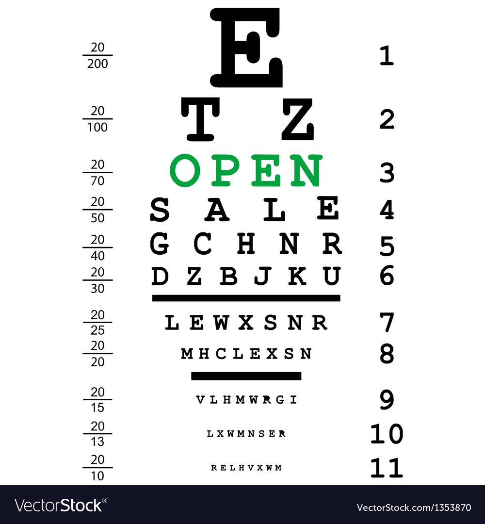 Optical eye test with open message vector | Price: 1 Credit (USD $1)
