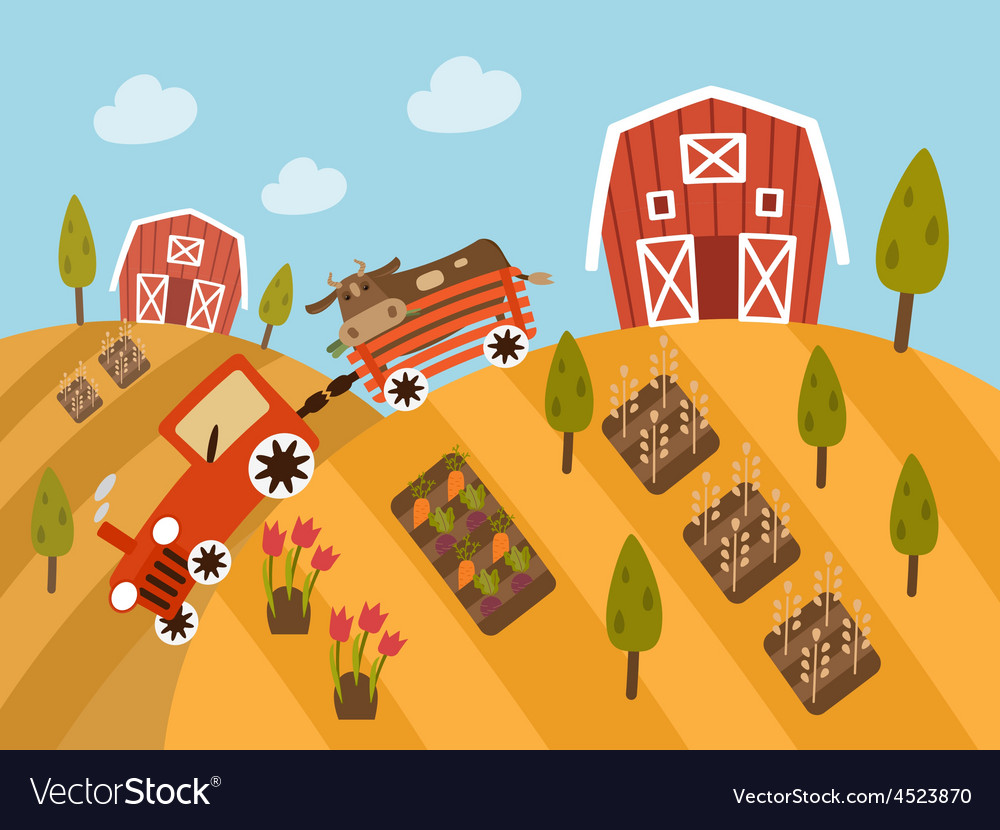 Organic farm products landscape view vector | Price: 1 Credit (USD $1)