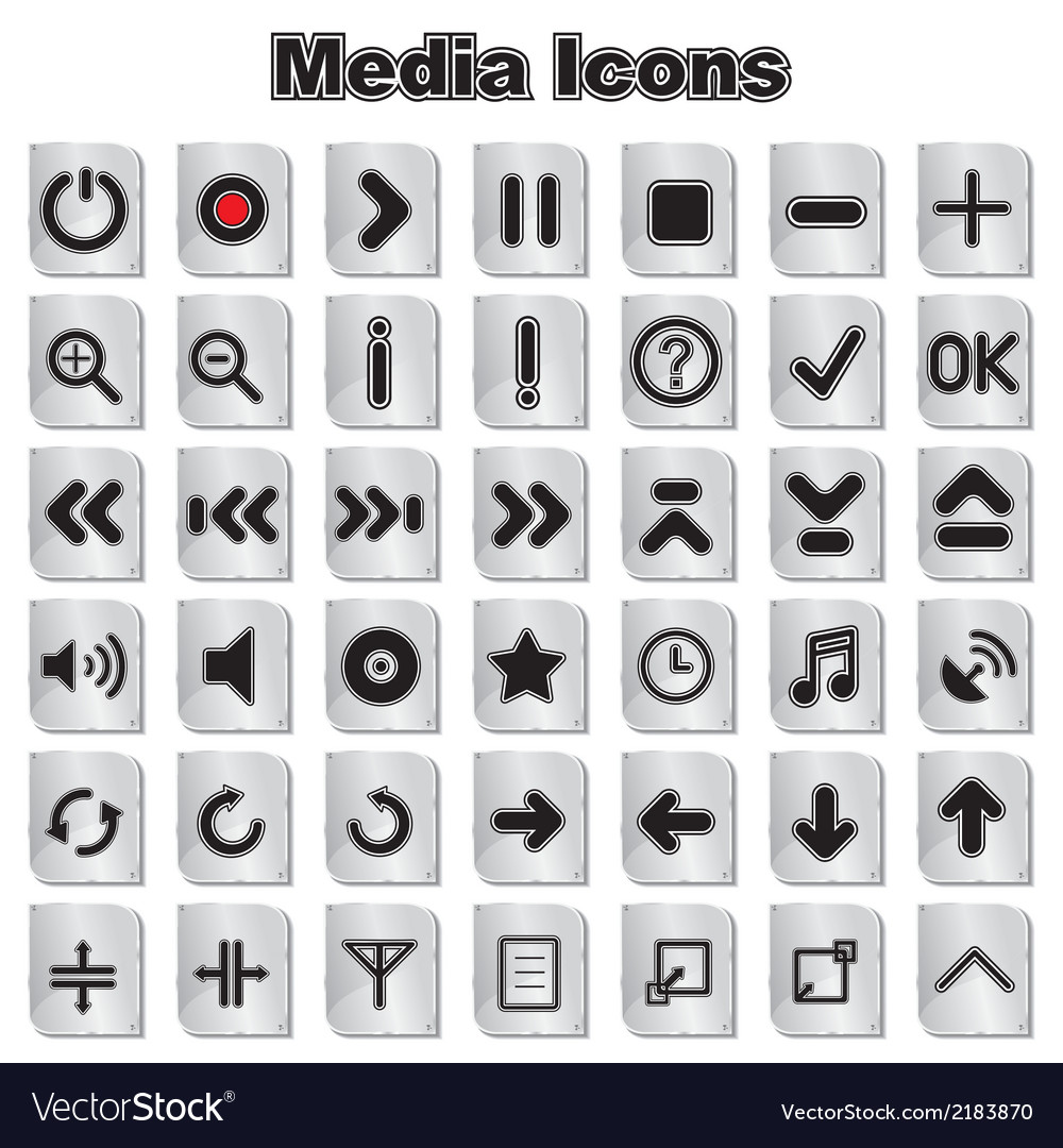Set of media and music icons vector | Price: 1 Credit (USD $1)