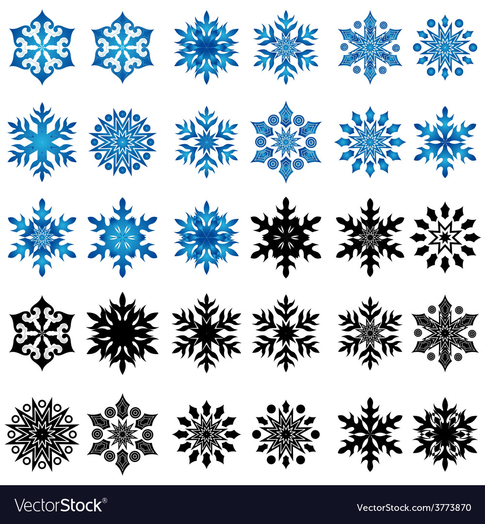 Set of thirty blue and black snowflakes vector | Price: 1 Credit (USD $1)