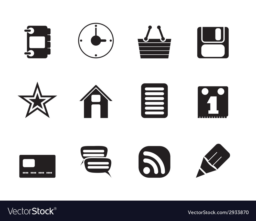 Silhouette internet and website icons vector | Price: 1 Credit (USD $1)