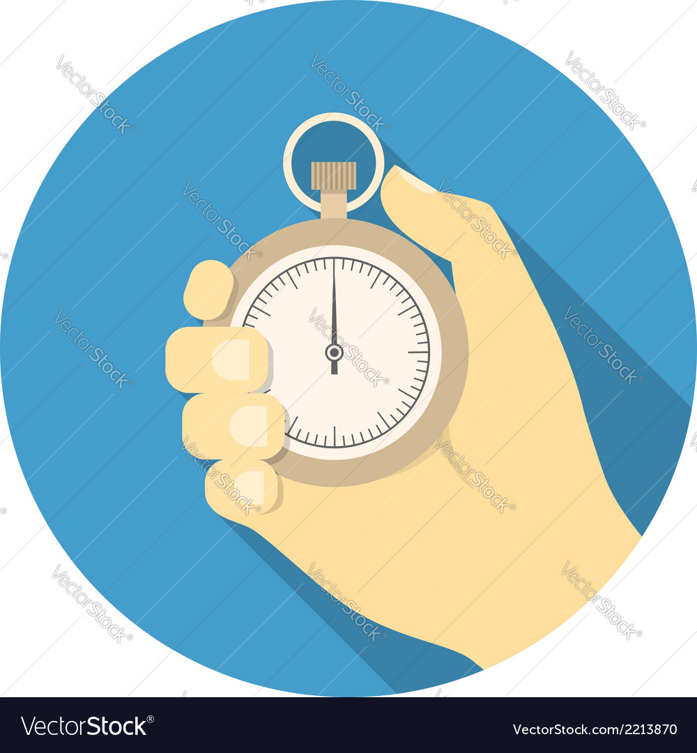 Stopwatch in hand vector | Price: 1 Credit (USD $1)