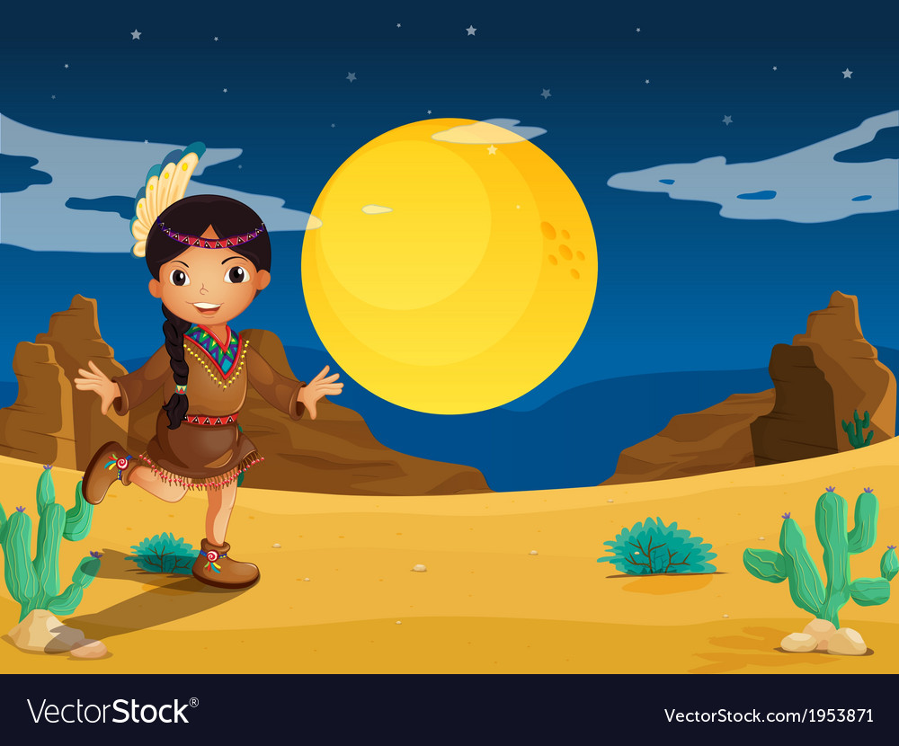 A young indian girl at the desert vector | Price: 1 Credit (USD $1)