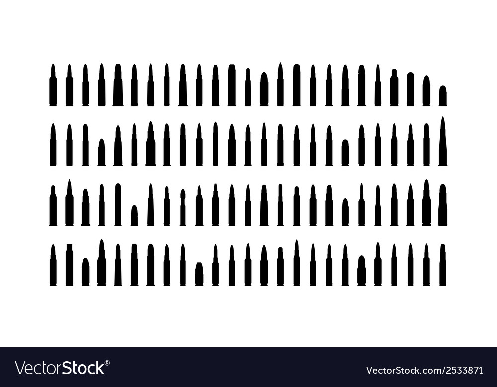 Ammunition silhouettes set vector | Price: 1 Credit (USD $1)