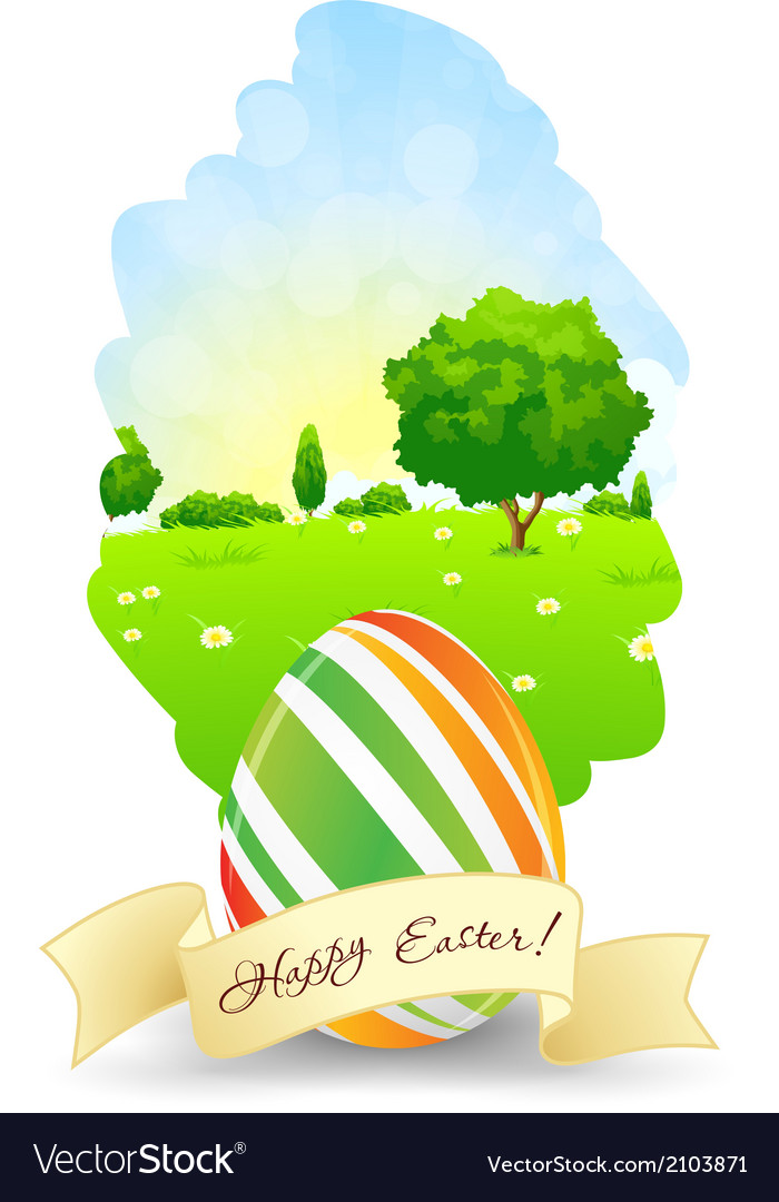 Easter card with landscape rabbit and eggs vector | Price: 1 Credit (USD $1)