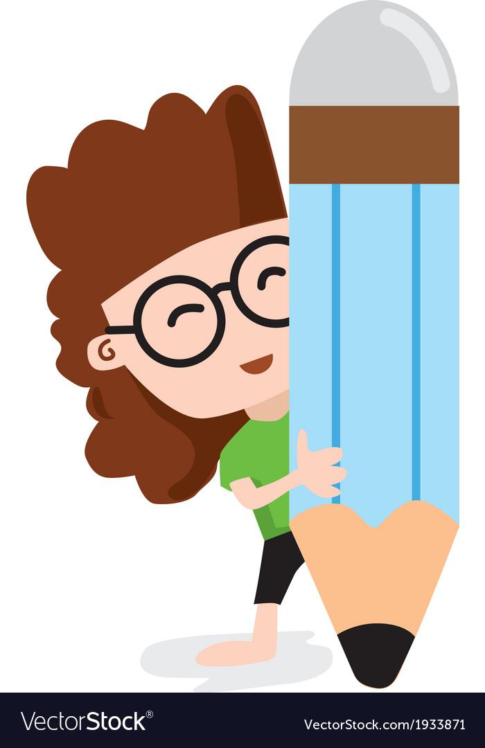 Happy girl holding a big pencil vector | Price: 1 Credit (USD $1)