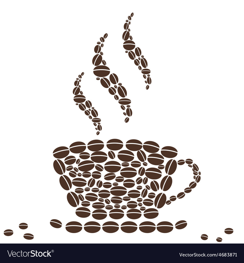 Hot cup of coffee with bean pattern vector | Price: 1 Credit (USD $1)