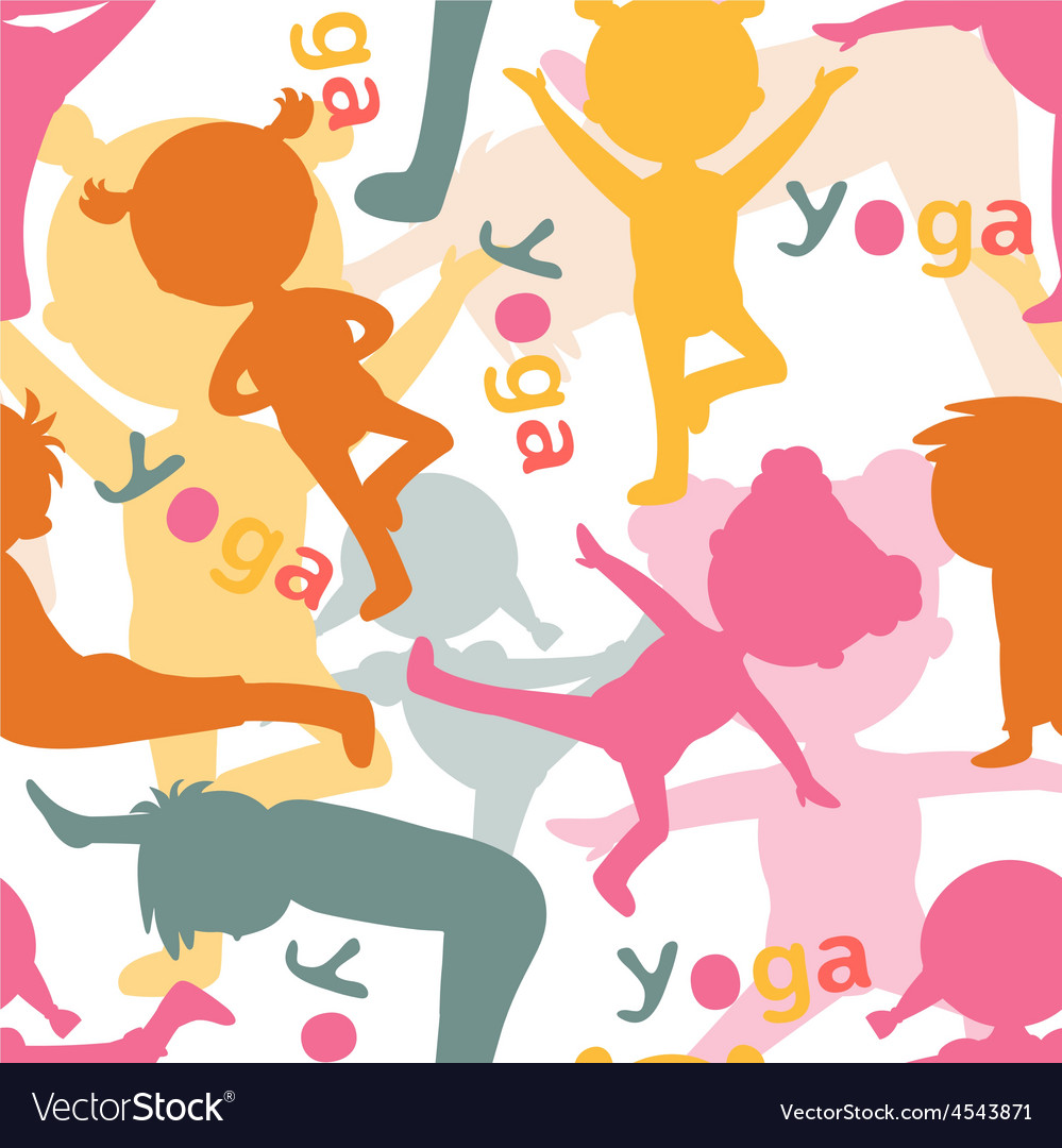 Kids doing yoga silhouettes pattern vector | Price: 1 Credit (USD $1)