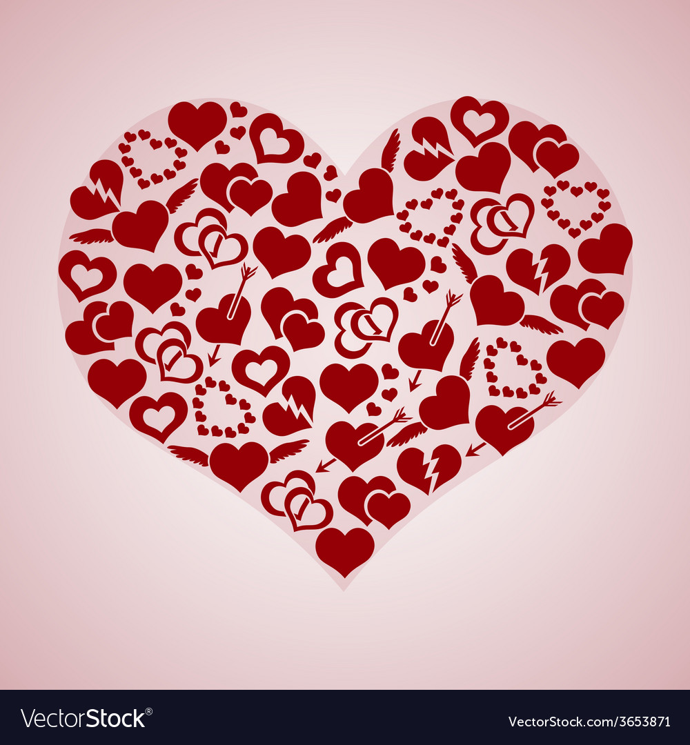 Red valentine hearth love symbols in big hearth vector | Price: 1 Credit (USD $1)