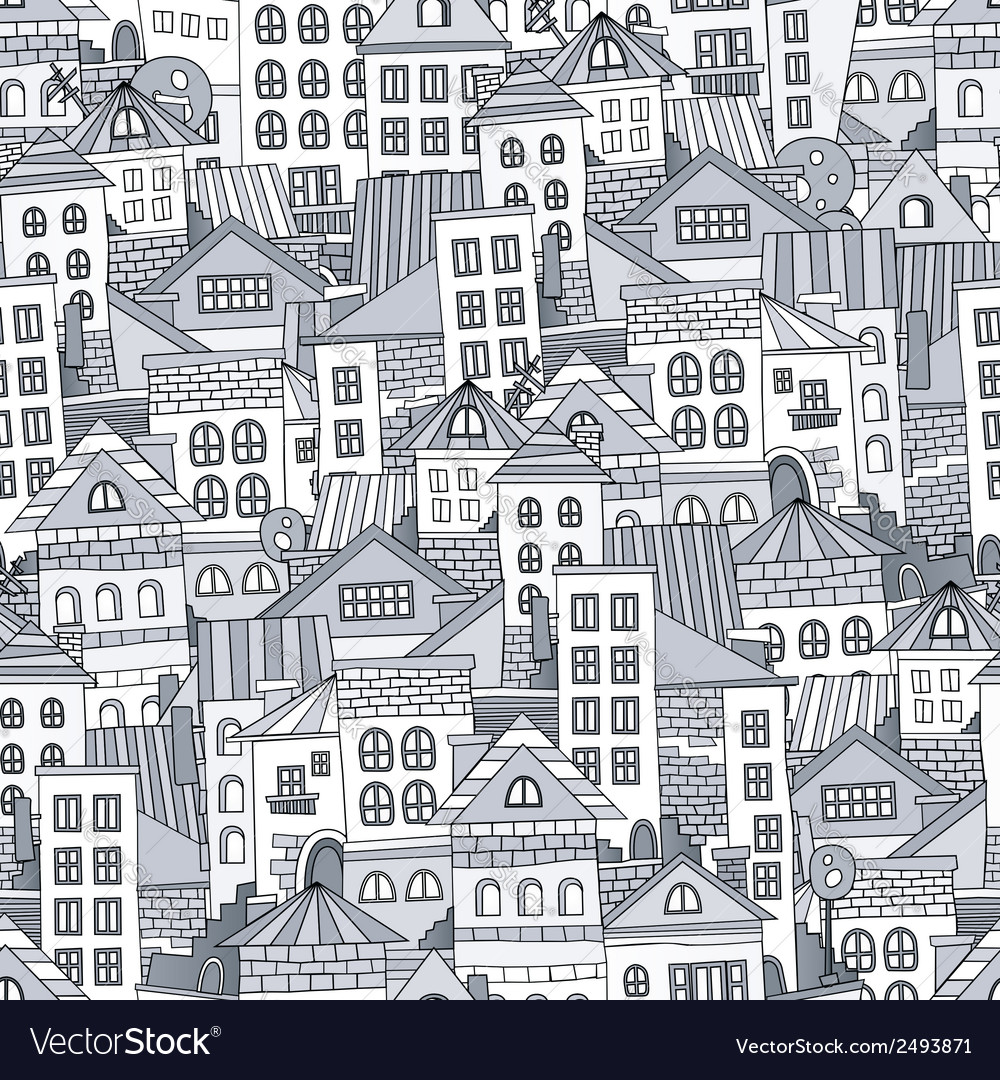 Seamless pattern town houses vector | Price: 1 Credit (USD $1)
