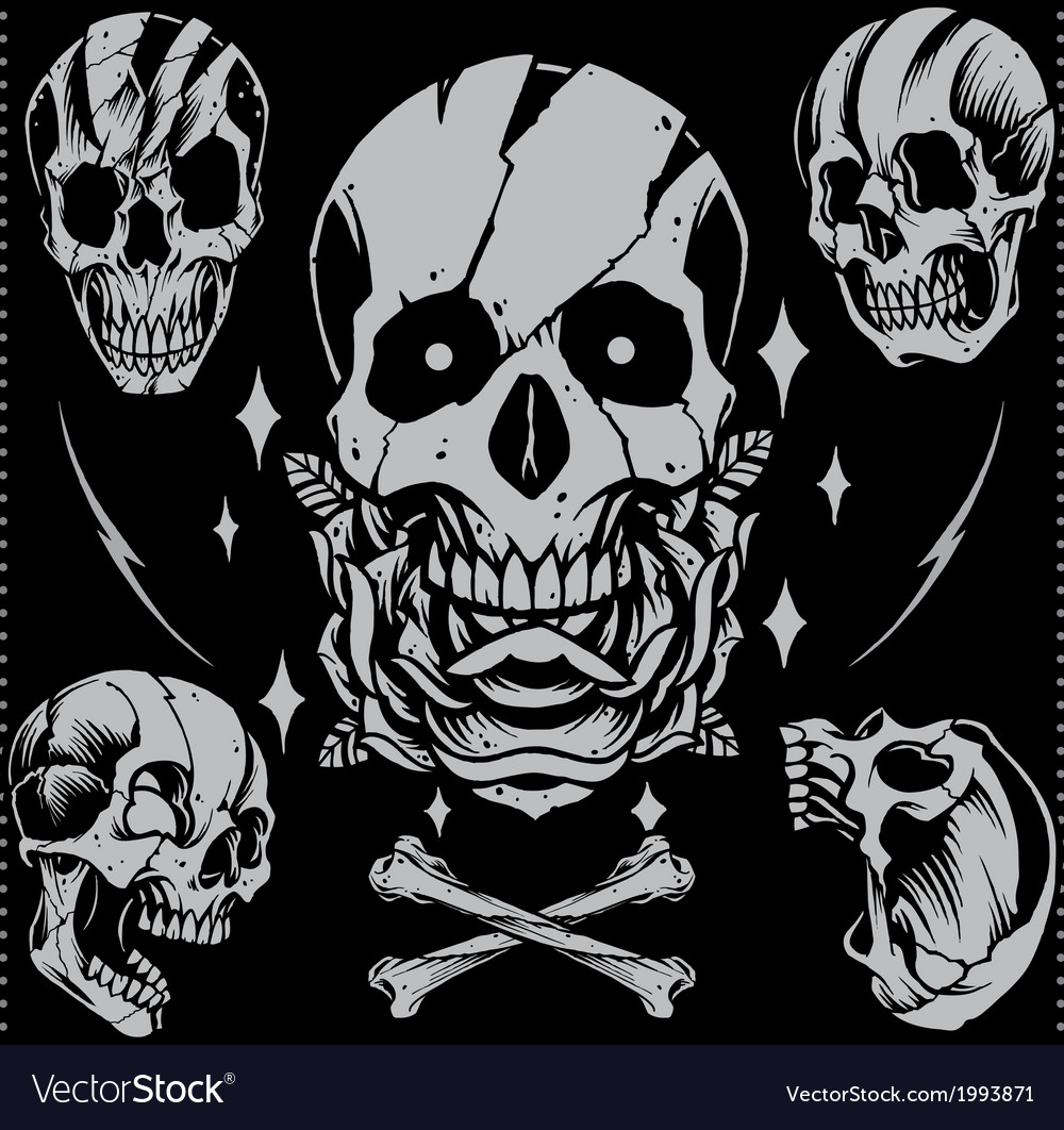 Skull old school style vector | Price: 1 Credit (USD $1)