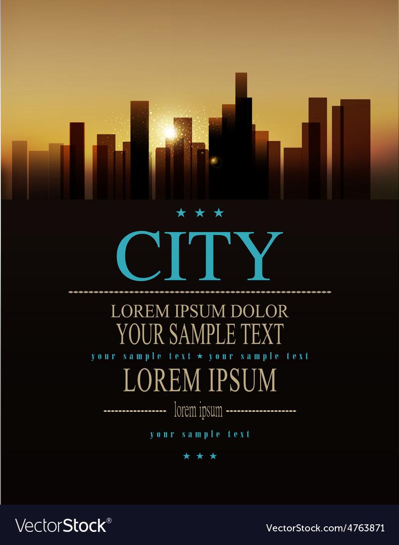 Urban landscape buildings and sunrise vector | Price: 3 Credit (USD $3)