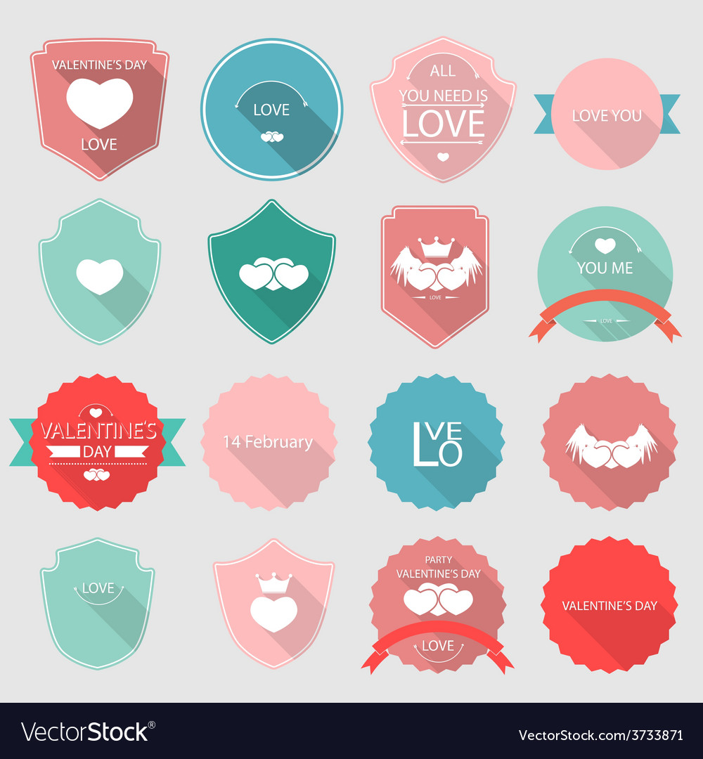 Valentine set of retro vintage badges and labels vector | Price: 1 Credit (USD $1)