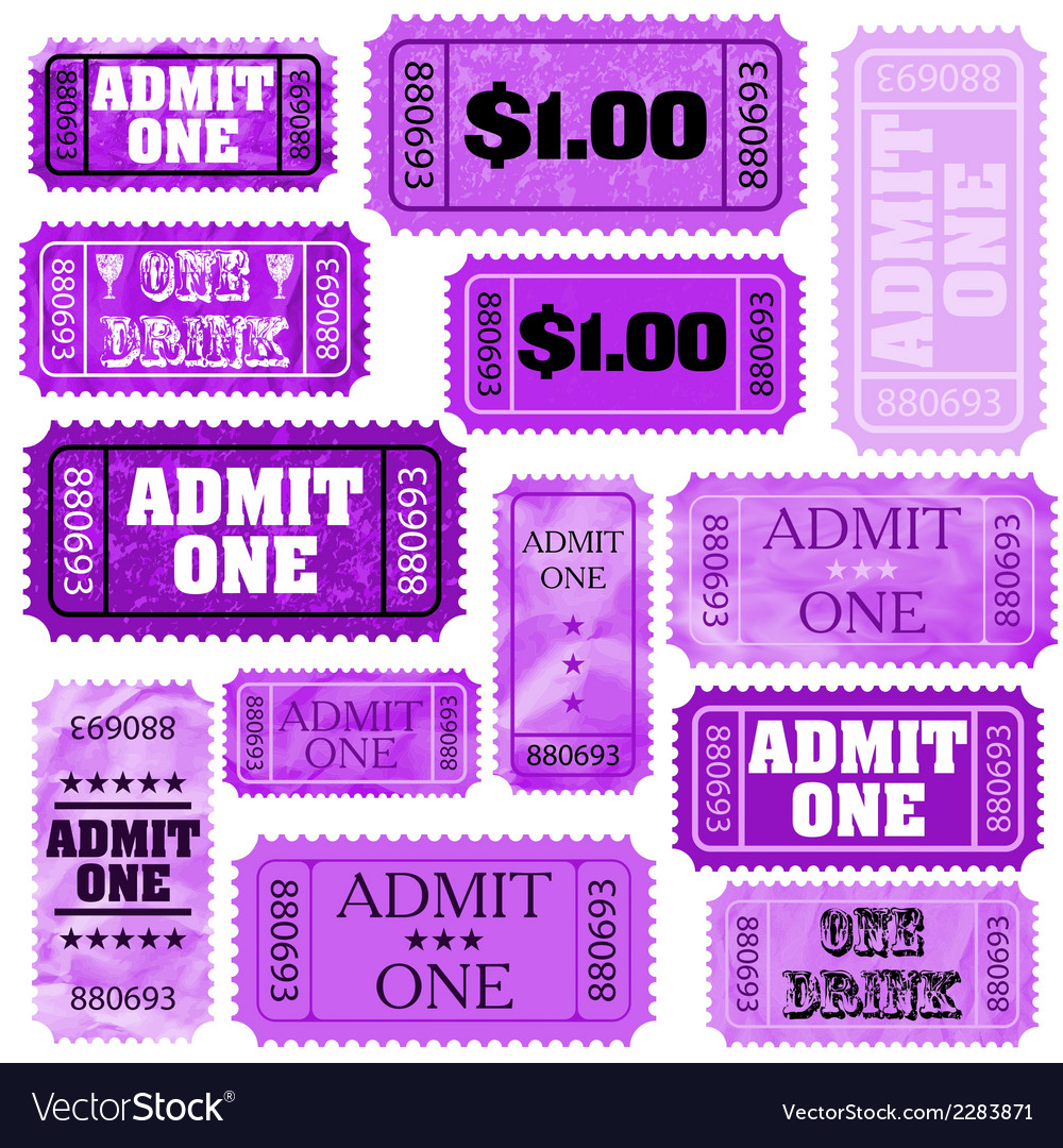 Violet set of ticket admit one eps 8 vector | Price: 1 Credit (USD $1)