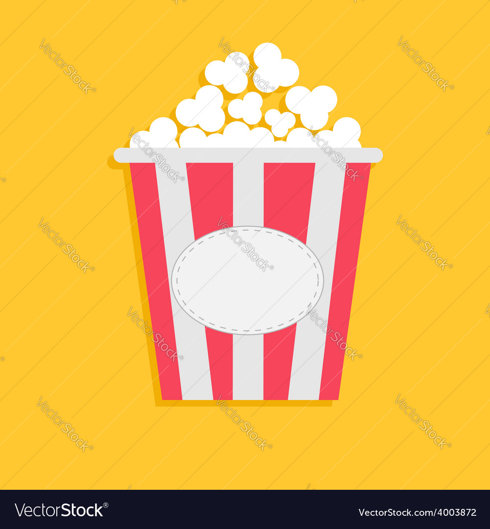 Big popcorn with empty label tag cinema icon flat vector | Price: 1 Credit (USD $1)
