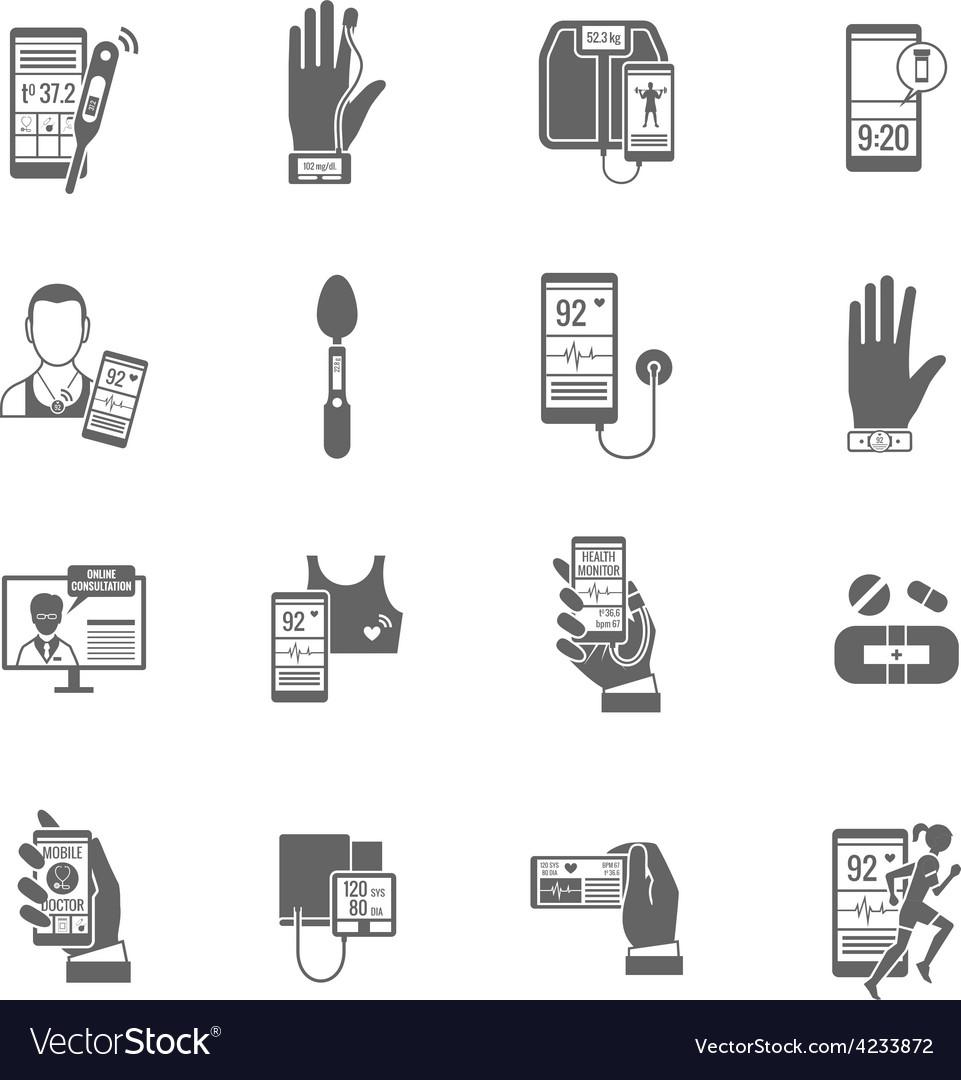 Digital health icons set vector   Price: 1 Credit (USD $1)