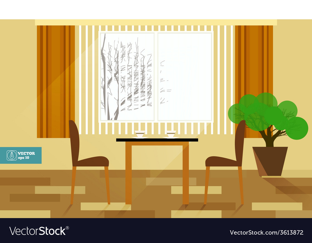 Flat interior room with sofa vector | Price: 1 Credit (USD $1)