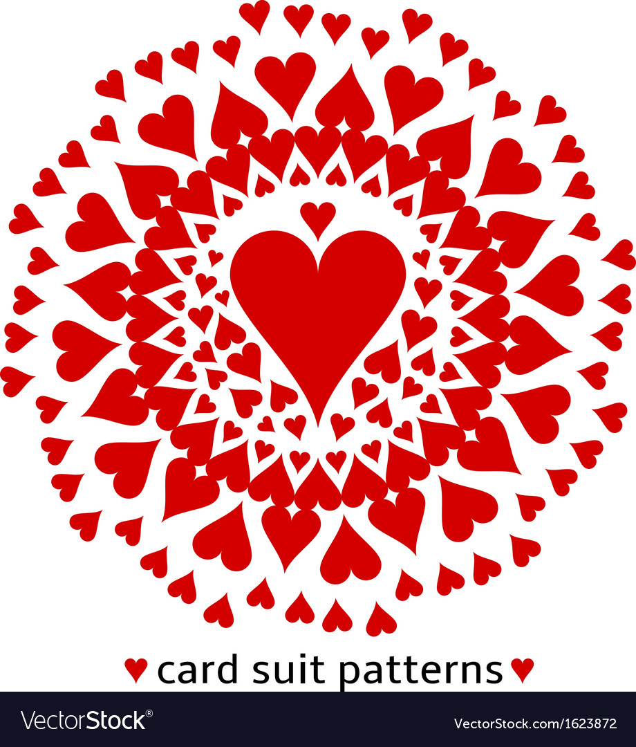 Heart card suit pattern vector | Price: 1 Credit (USD $1)