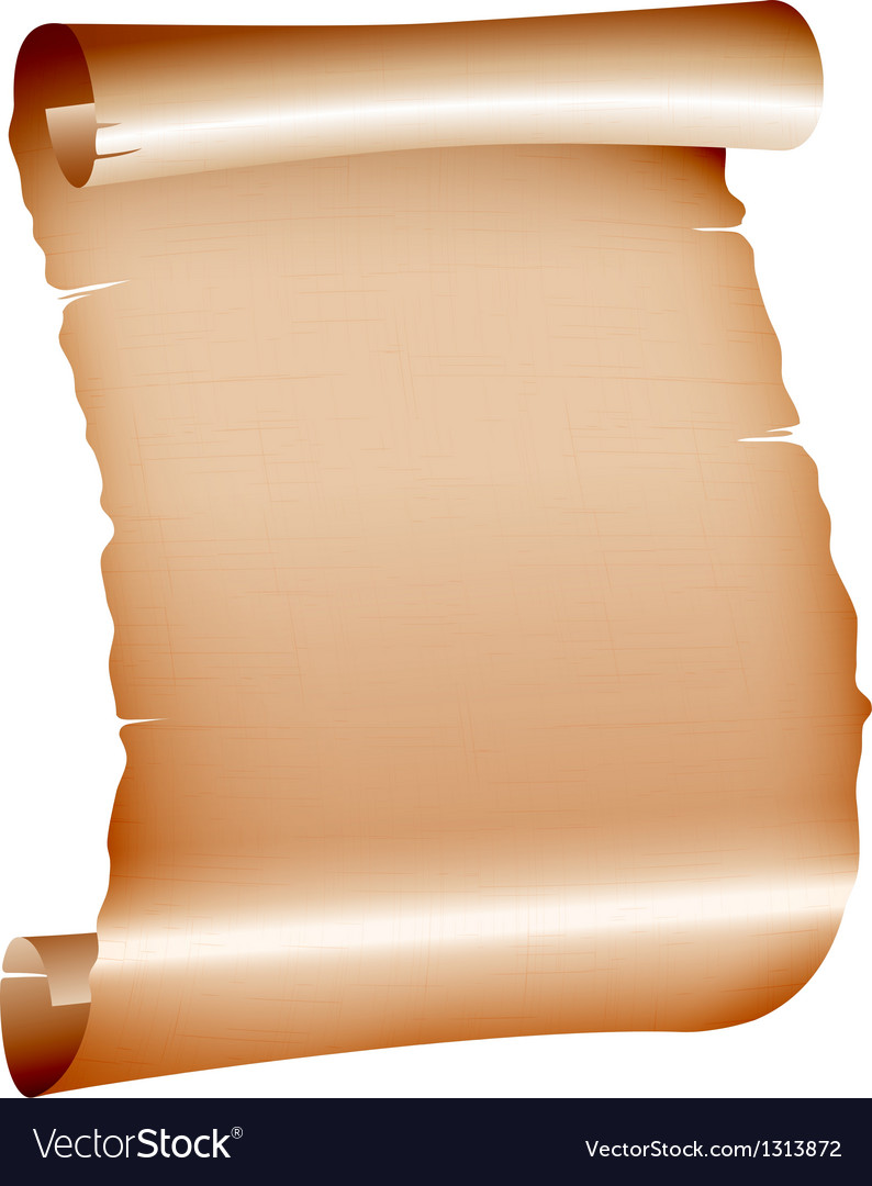 Old blank scroll paper on white background vector | Price: 1 Credit (USD $1)