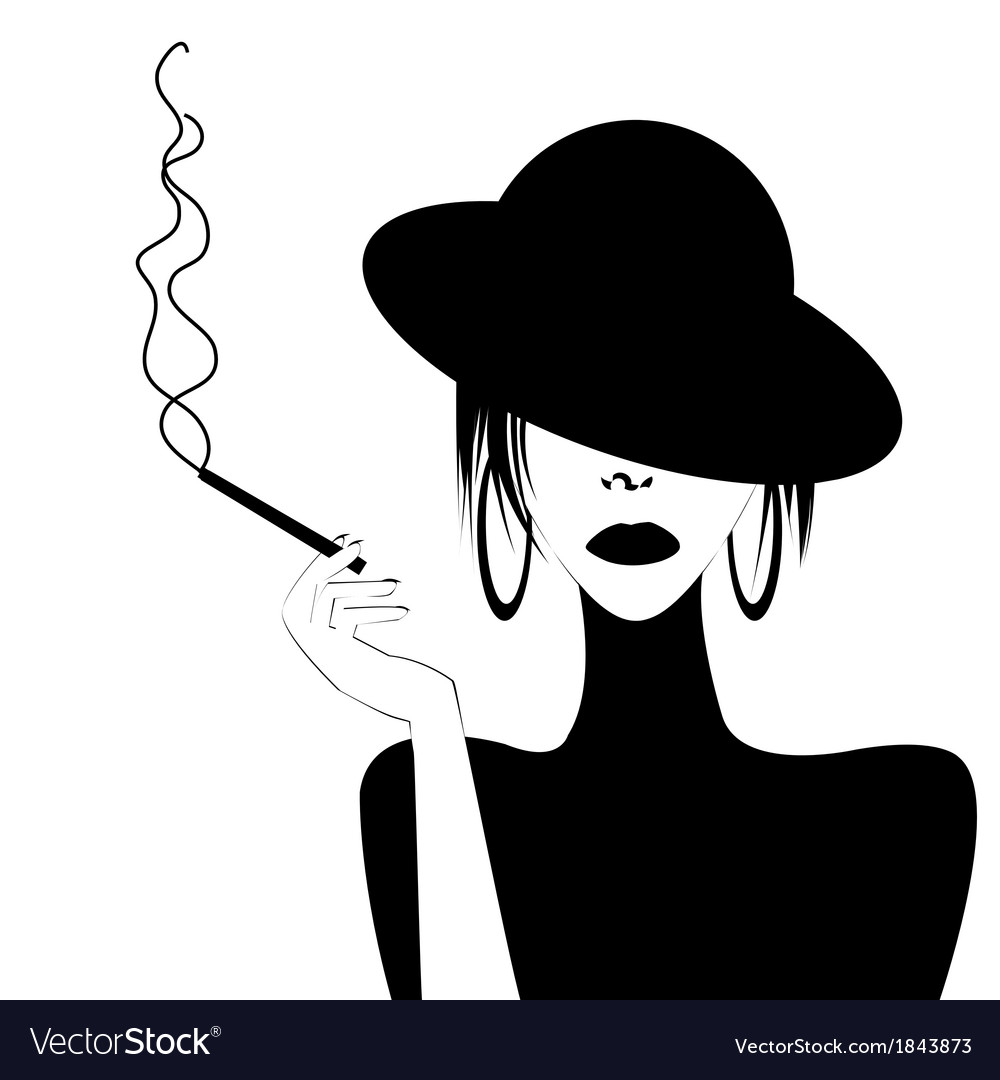 Abstract portrait of a sexy woman smoking vector | Price: 1 Credit (USD $1)