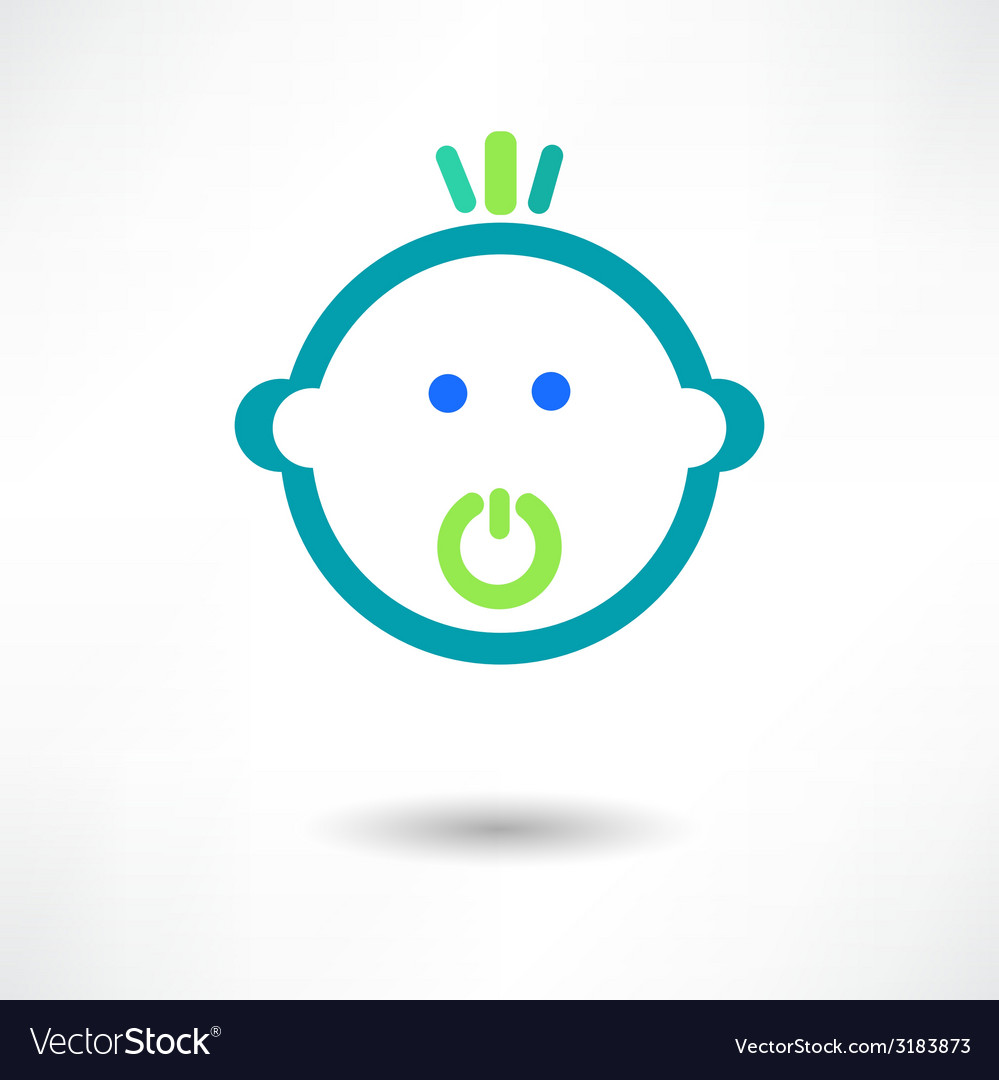 Cartoon cute baby with pacifier vector | Price: 1 Credit (USD $1)