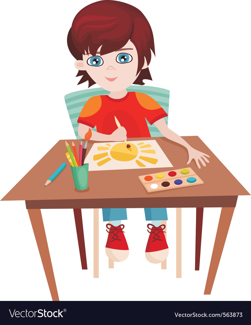 Child painting vector | Price: 1 Credit (USD $1)