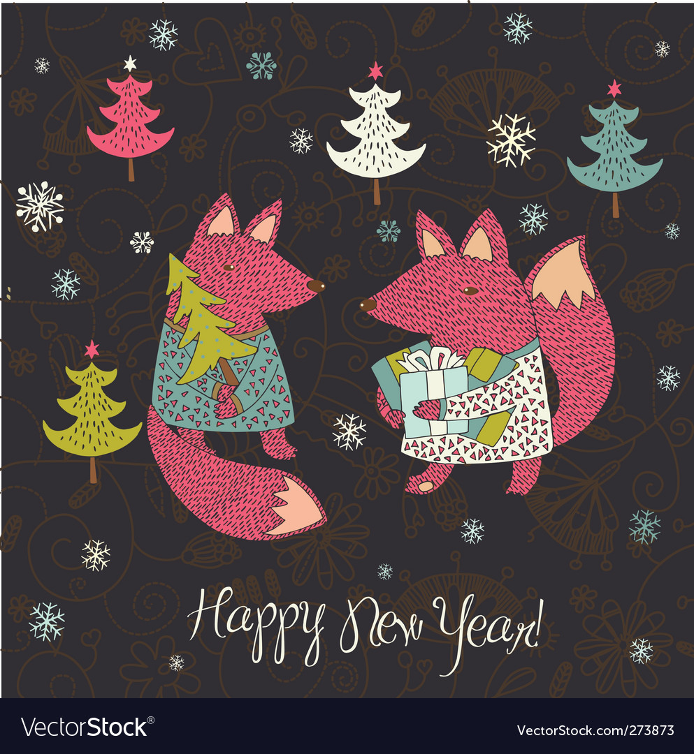 Christmas card with fox vector | Price: 3 Credit (USD $3)