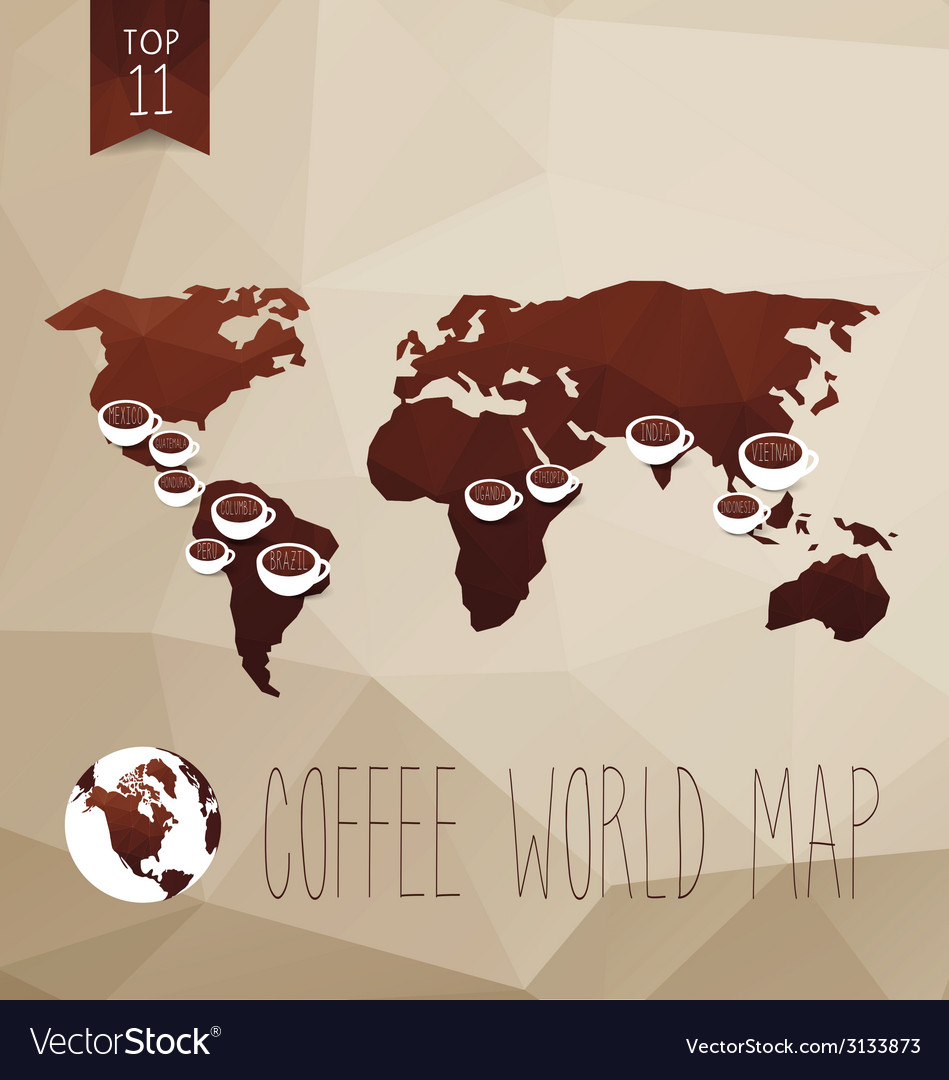 Coffee map vector | Price: 1 Credit (USD $1)