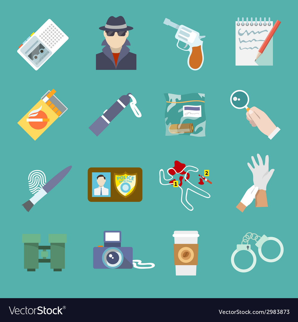 Detective icons set vector | Price: 1 Credit (USD $1)