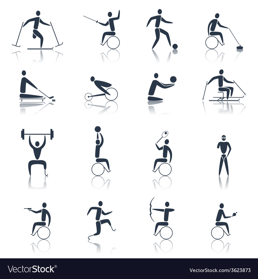 Disabled sports icons black vector | Price: 1 Credit (USD $1)