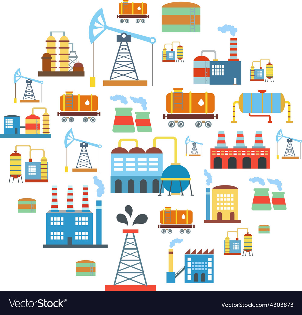 Factory flat industry background with manufactory vector | Price: 1 Credit (USD $1)