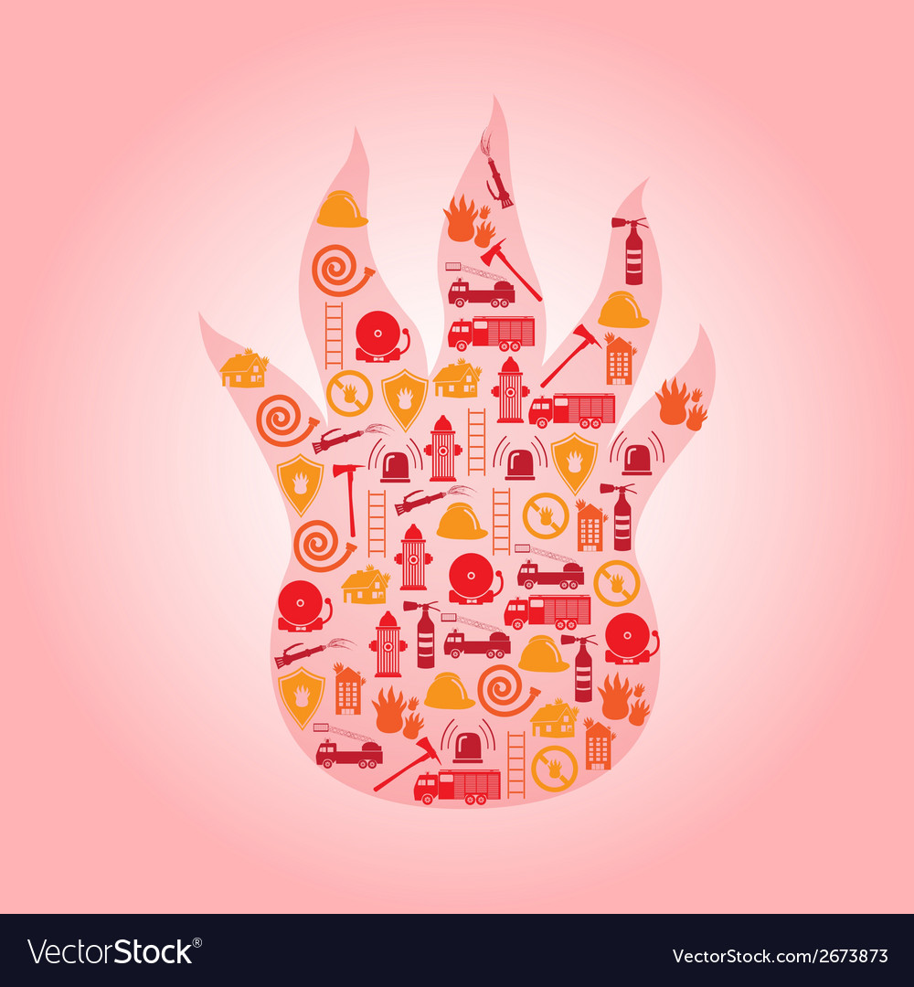 Fire brigade icons in flame shape eps10 vector | Price: 1 Credit (USD $1)
