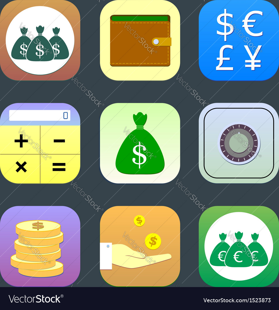 Flat icons monetary topics for web and mobile vector | Price: 1 Credit (USD $1)