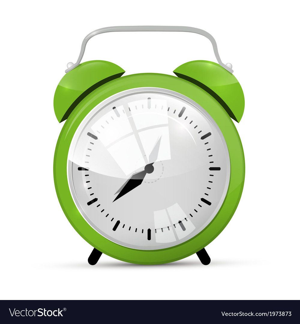 Green alarm clock isolated on white background vector | Price: 1 Credit (USD $1)