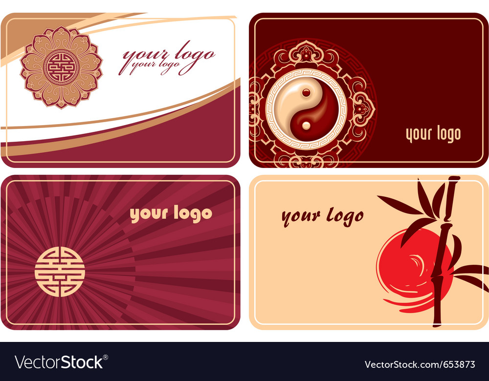 Set of cards with oriental design vector | Price: 1 Credit (USD $1)