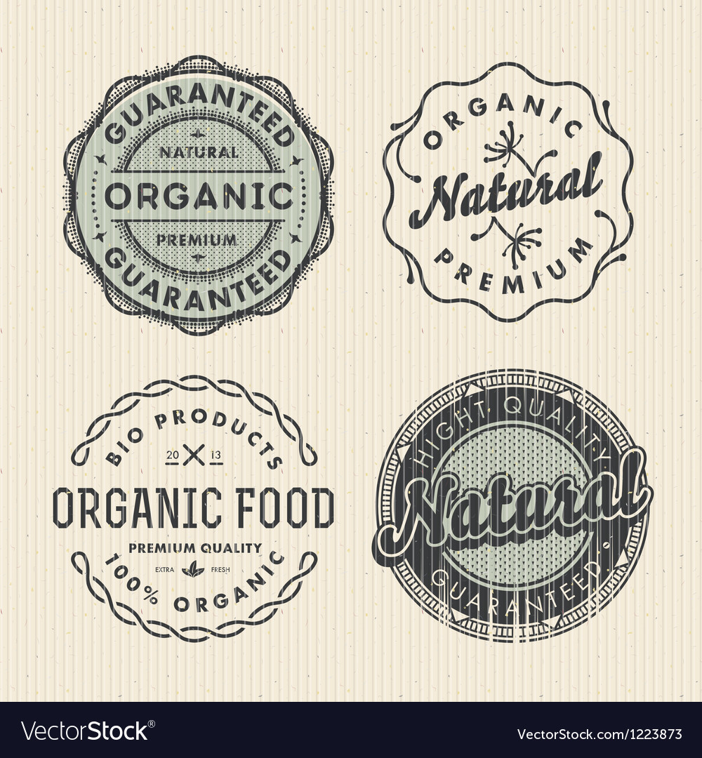 Set vintage organic labels vector | Price: 1 Credit (USD $1)