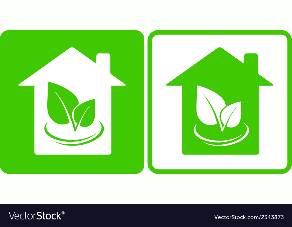 Two eco houses vector | Price: 1 Credit (USD $1)