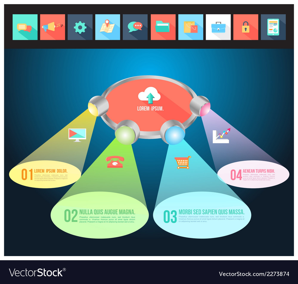 Abstract light 3d infographic with flat icons vector | Price: 1 Credit (USD $1)