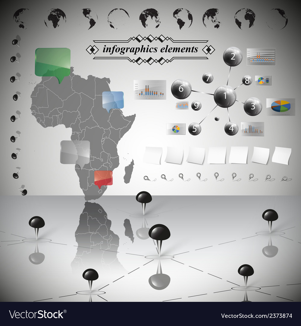Africa map different icons and information vector | Price: 1 Credit (USD $1)