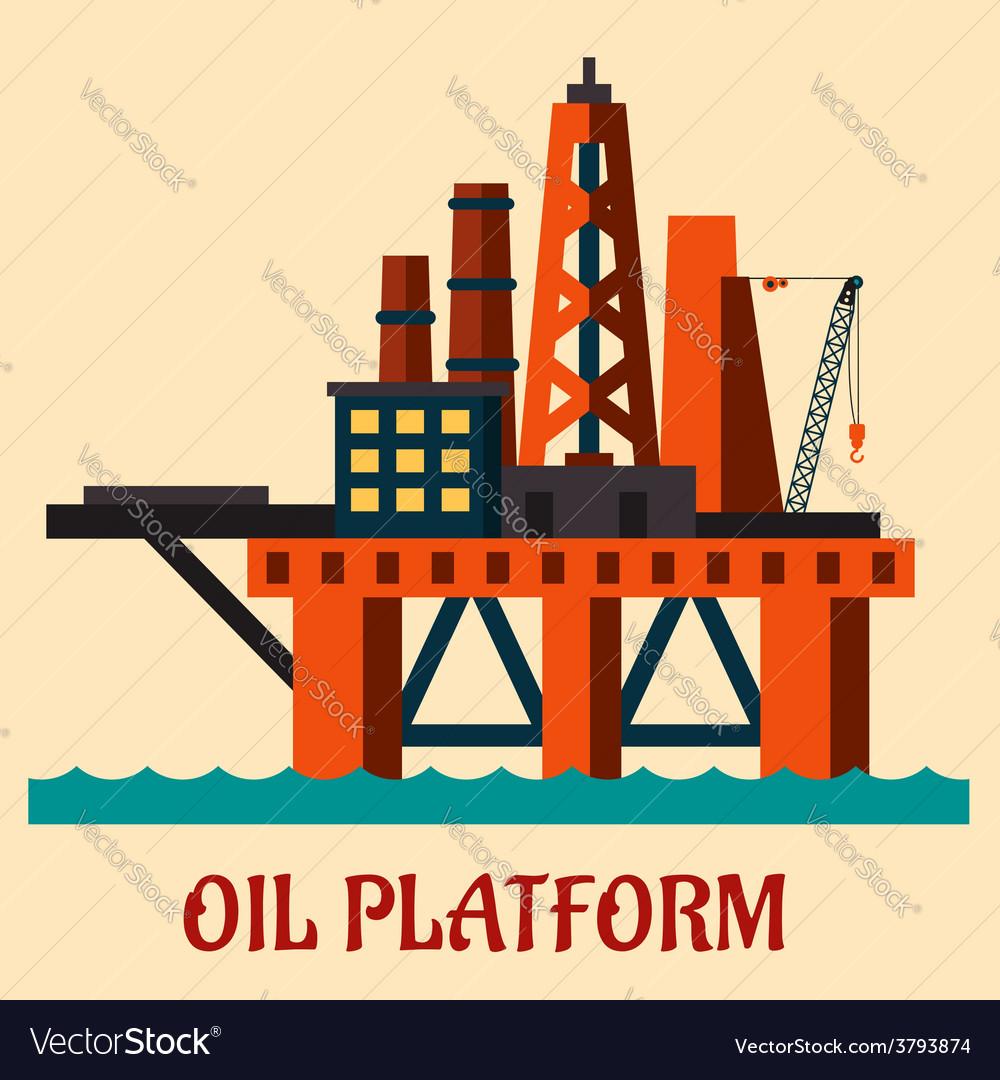 Cartoon sea oil platform vector | Price: 1 Credit (USD $1)
