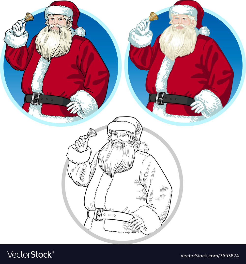 Christmas character santa claus cartoons set vector | Price: 1 Credit (USD $1)