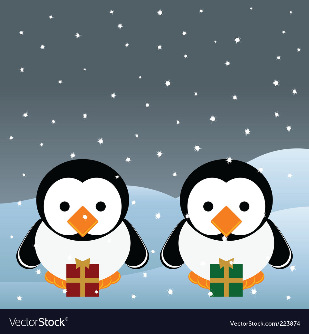 Christmas penguins vector | Price: 1 Credit (USD $1)